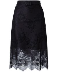 Carven | Black Scalloped Hem Lace Skirt | Lyst
