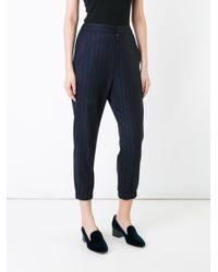 En Route - Blue Pinstripe Cropped Trousers - Lyst