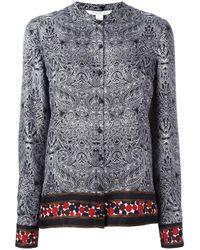 Diane von Furstenberg | Black Concealed Fastening Collarless Shirt | Lyst