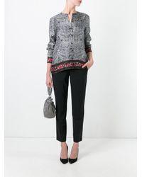 Diane von Furstenberg - Black Concealed Fastening Collarless Shirt - Lyst
