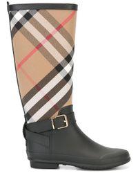 Burberry - Black 'house Check' Rain Boots - Lyst