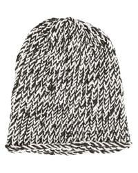 Greg Lauren - Black Bicolour Knit Beanie - Lyst