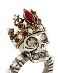 Alexander McQueen - Metallic Queen Skull Ring - Lyst