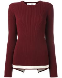 Victoria, Victoria Beckham | Red Open Back Ribbed Jumper | Lyst