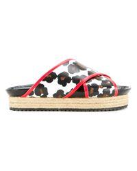 MUVEIL - White Leopard Print Platform Sandals - Lyst