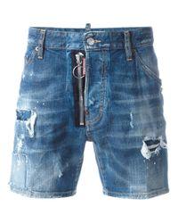 DSquared² | Blue Dan Distressed Denim Shorts for Men | Lyst