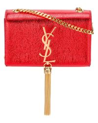 Saint Laurent | Red Small Monogram Kate Tassel Satchel Bag | Lyst