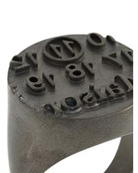Maison Margiela - Metallic Logo Embossed Signet Ring for Men - Lyst