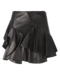 Alexander McQueen | Black - Ruffled Mini Skirt - Women - Cotton/lamb Skin - 42 | Lyst