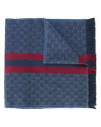 Gucci | Blue Web Detail Jacquard Knit Scarf for Men | Lyst