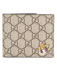 a4bbd09bcaf Gucci Gg Supreme Tiger Wallet in Natural for Men - Lyst