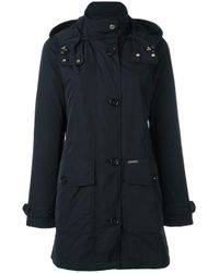 Woolrich | Black Zipped Hooded Coat | Lyst