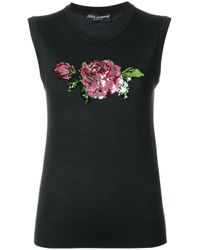 Dolce & Gabbana - Black Rose Sequinned Tank Top - Lyst