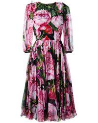 Dolce & Gabbana | Black Rose Print Chiffon Dress | Lyst
