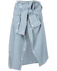 Faith Connexion   Blue Tied Asymmetric Striped Skirt   Lyst