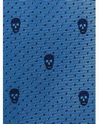 Alexander McQueen - Blue Polka Dot Skull Tie for Men - Lyst