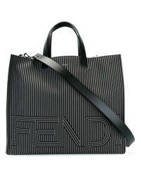 Fendi | Black Two-tone Striped Tote Bag | Lyst