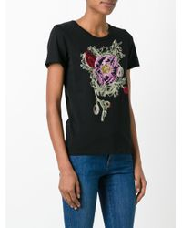 Alexander McQueen - Black Floral Embroidered T-shirt - Lyst