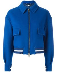 Stella McCartney | Blue - Classic Cropped Bomber Jacket - Women - Cotton/polyamide/viscose/wool - 40 | Lyst