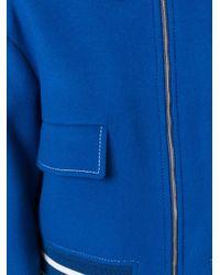 Stella McCartney - Blue - Classic Cropped Bomber Jacket - Women - Cotton/polyamide/viscose/wool - 40 - Lyst