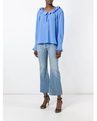 Stella McCartney - Blue Ruffled Neck Fastening Blouse - Lyst