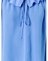 Stella McCartney - Blue Ruffled Neck Fastening Blouse - Lyst