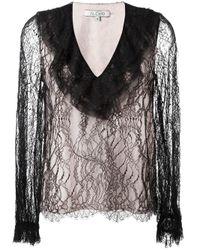 Alexis | Black - Ruffled V-neck Lace Blouse - Women - Silk/nylon/polyester/spandex/elastane - Xs | Lyst