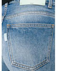 Off-White c/o Virgil Abloh - Blue Raw Hem Denim Shorts - Lyst