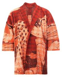 Homme Plissé Issey Miyake | Red Geisha Print Open Jacket for Men | Lyst