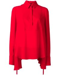 Alexander McQueen | Red Draped Blouse | Lyst