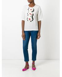 Dolce & Gabbana - White Floral Appliqué Top - Lyst
