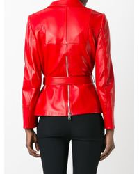 Alexander McQueen   Red Zip Detailed Biker Jacket   Lyst