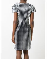 Blumarine | Black Shortsleeved Checked Dress | Lyst