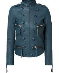 Faith Connexion | Blue Double-breasted Effect Biker Jacket | Lyst