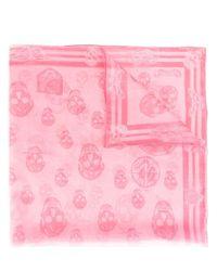 Alexander McQueen | Pink Skull Print Scarf | Lyst