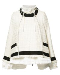 Sacai | White Drawstring Tweed Jacket | Lyst