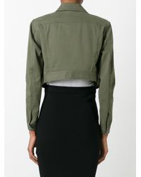 T By Alexander Wang - Green Cropped Denim Jacket - Lyst