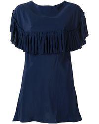 Marni | Blue Pleated Trim Blouse | Lyst
