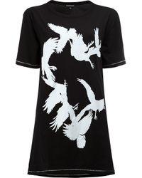 Ann Demeulemeester   Black Bird Print Open Back T-shirt   Lyst