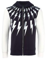 Neil Barrett | Blue Lightning Bolt Zip Hoodie for Men | Lyst