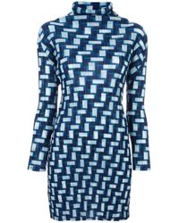 Pleats Please Issey Miyake | Blue Goemtric Print Long Blouse | Lyst