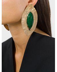 Balmain - Metallic Oversized Teardrop Earrings - Lyst
