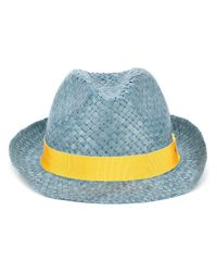Etro | Blue Panama Hat for Men | Lyst