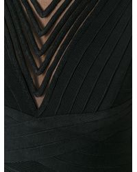 Hervé Léger - Black Zig Zag Trim Dress - Lyst