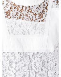 Sacai - White Twill Insert Guipure Lace Dress - Lyst
