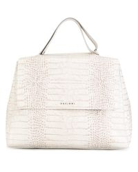 Orciani - Gray Snakeskin Effect Tote - Lyst