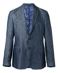 Etro | Blue Tonal Print Blazer for Men | Lyst