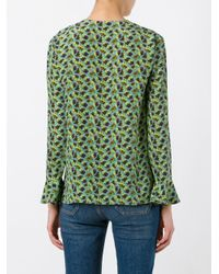 Etro - Green V Neck Floral Print Blouse - Lyst