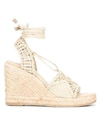 Paloma Barceló | Natural Tie Around Wedged Sandals | Lyst