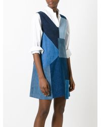 MiH Jeans - Blue Marten Patchwork Denim Dress - Lyst